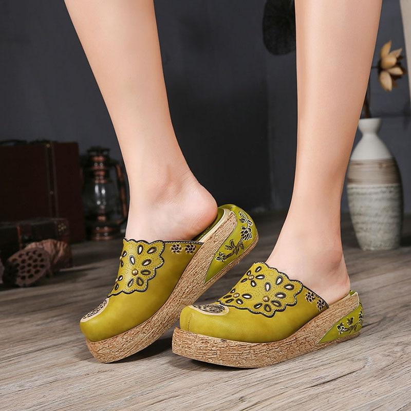2019 VALLU Ethnic Style Flat Platform Shoes Women Slipper Genuine Leather Cover Toes Handmade Summer New
