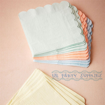 160pcs Pastel Paper Napkins Scallop Design Pink Blue Yellow Mint Party Napkins Cocktail Bachelor Party Gender Reveal Decor