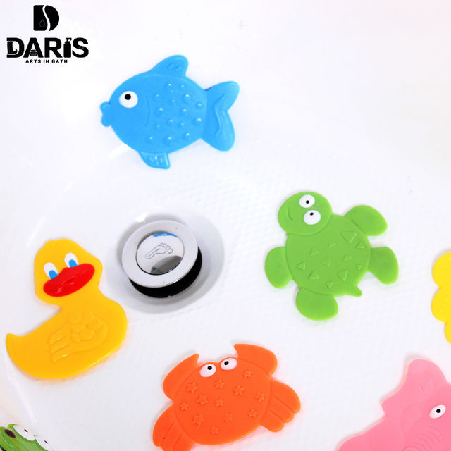 DARIS 4pcs Cartoon Animal Anti-slip Mat Baby PVC Bath Mat Tub Safety Stickers Bath Protect Bathroom Products For Kids