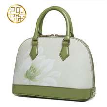 Famous brand top quality dermis women bag   2016 new lotus printing shell package Fresh Shoulder Messenger Bag handbag