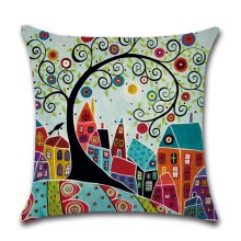 Retro Vintage Hand Painted Cushion Cover Cartoon City Tree Printing Throw Pillow Case 45x45cm Linen/Cotton Decorative Pillowcase