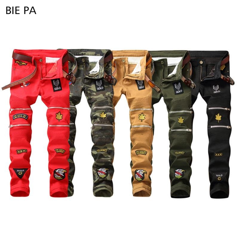 2018 new men jeans patches creative warm Male Casual fashion stretch Skinny jeans men size 29-38 #6601