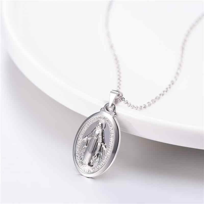 2019 najnowszy 925 srebrny krzyż Jesu naszyjniki czysta 925 srebrny Christian wisiorek naszyjniki dla kobiet mężczyzn bóg naszyjniki