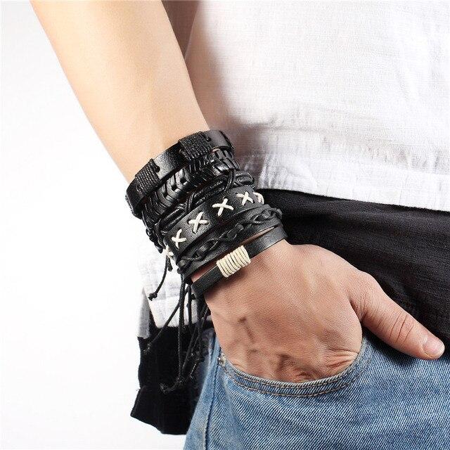 6 шт/1 комплект многослойные кожаные браслеты для мужчин и женщин