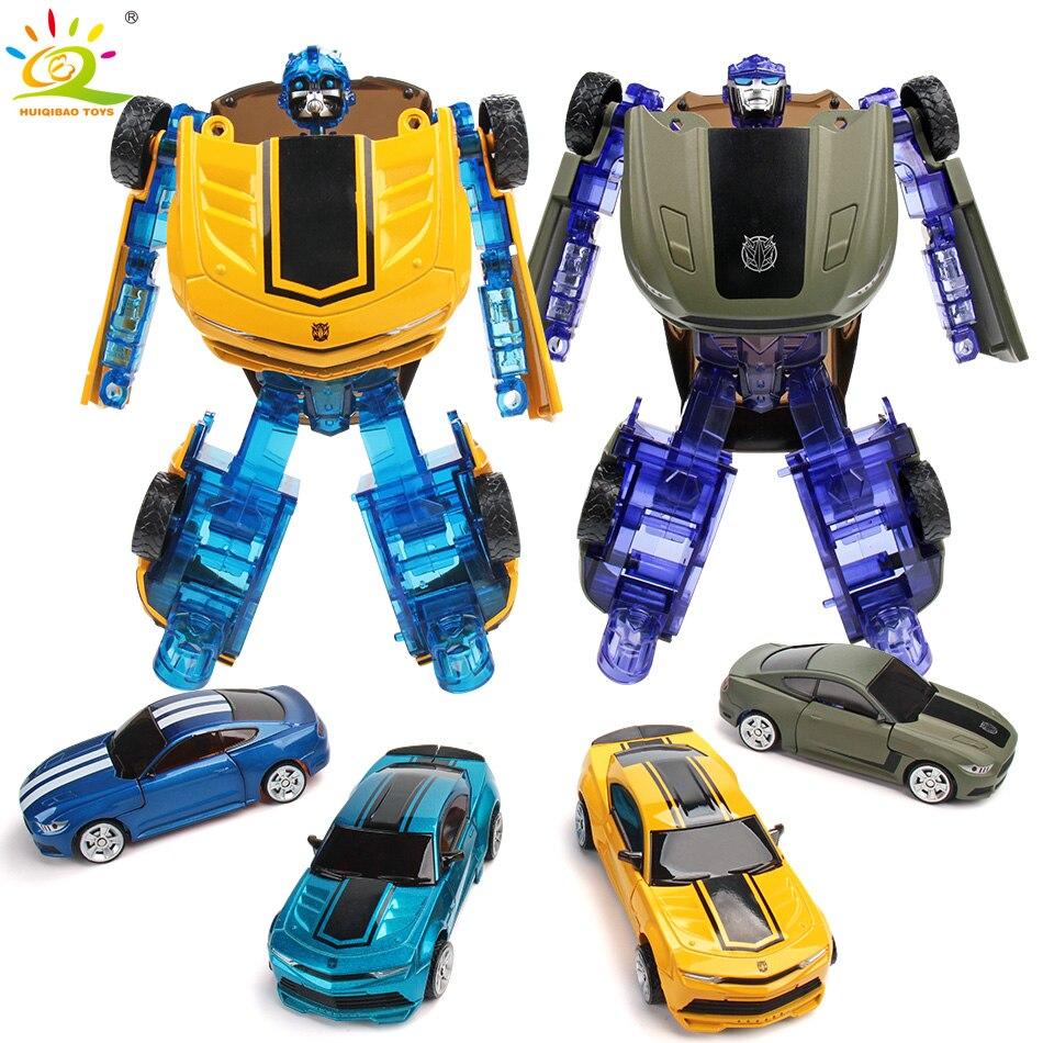 HUIQIBAO juguetes 16 cm Metal transformación deformación coche Robot acción juguetes figuras Educationsl juguetes clásicos para niños 4 Color