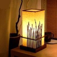 Современный китайский стиль бамбука настольные лампы творческая гостиная спальня ночники глаз исследования древесины настольные лампы