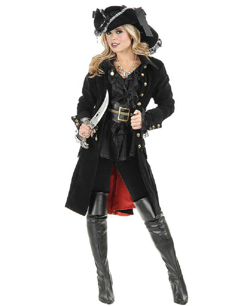 Deluxe Girls Knight Cavalier Clothing for Adult Women Cosplay Halloween Caribbean Spanish Pirate Costumes Outfits