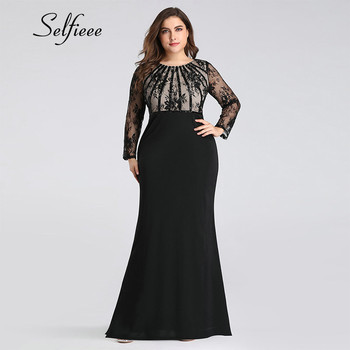 Black Dress Plus Size New Spring Mermaid O Neck Long Sleeve Dress Woman Party Night Evening Sexy Appliques Lace Dress Robe Femme 2019 spring new women half sleeve loose flavour black dress long summer vestido korean fashion outfit o neck big sale costume