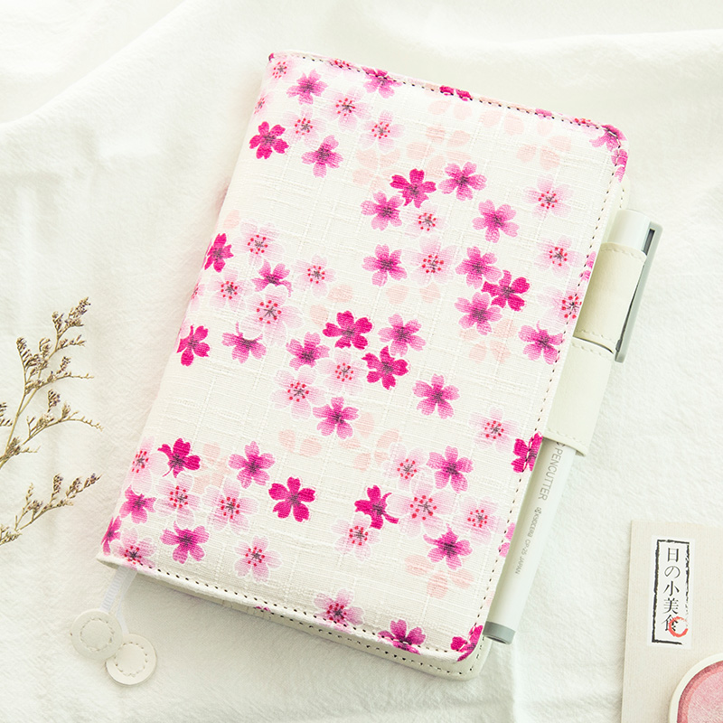 Romantic Floral Journal Book Cloth+PU Cover A6 Diary Hobonichi Fashion Notebook Gift 2017 New School Office Supplies sosw fashion anime theme death note cosplay notebook new school large writing journal 20 5cm 14 5cm