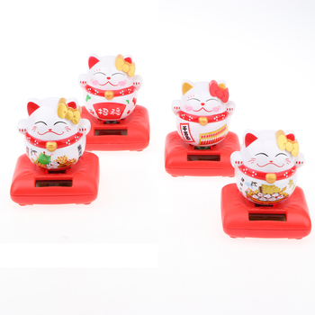 Cute Solar Powered Lucky Cat Figurine - Nodding Dancing Bobbing Animal Model for Good Health & Fortune Toy Home Decor image