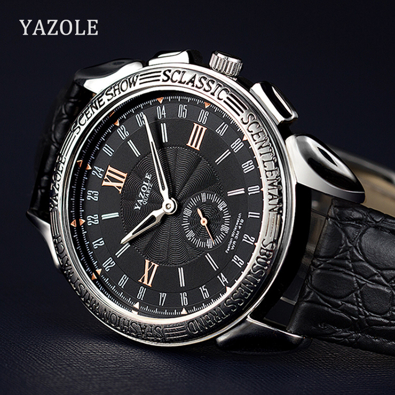 Yazole Brand Luxury Famous Men Watches Business Leather Watch Male Clock Large Dial Classic Style Quartz Watch Relogio Masculino цена и фото