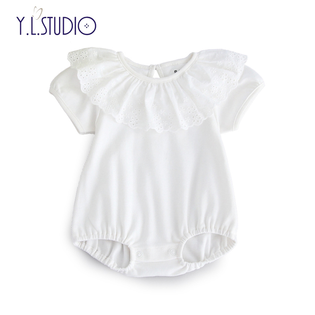 6288f6413 Baby Girl bodysuits Cotton Romper Short sleeve White with Floral ...