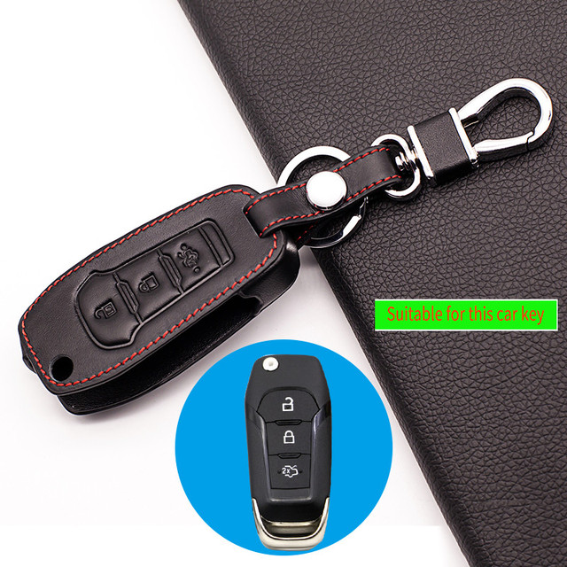 Genuine Leather Key Chain Ring Cover Case Holder For Ford Mustang