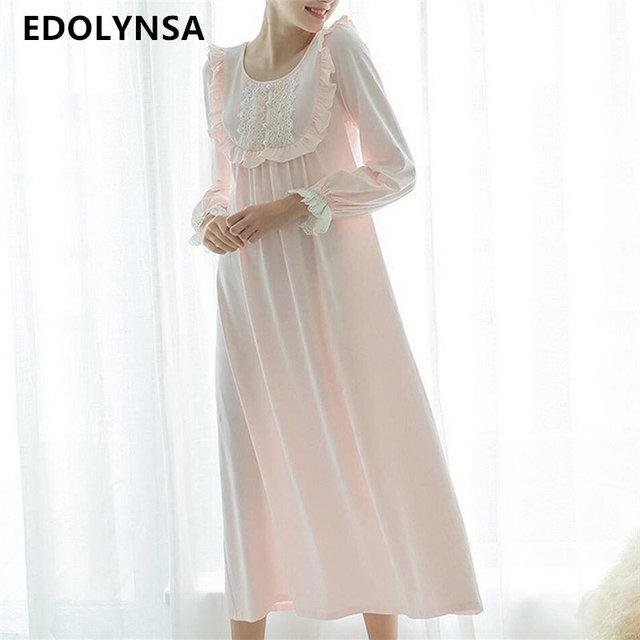 b330116add9 Long White Cotton Nightgown Ladies Vintage Home Dress Lace Princess · Women  Secret Straps Short Nightdress Romantic Nachthemd Ecru