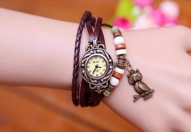 Hot Sales Owl Pendant Genuine Cow Leather Women Watches ladies fashion dress quartz wristwatches Relogio Feminino kz015