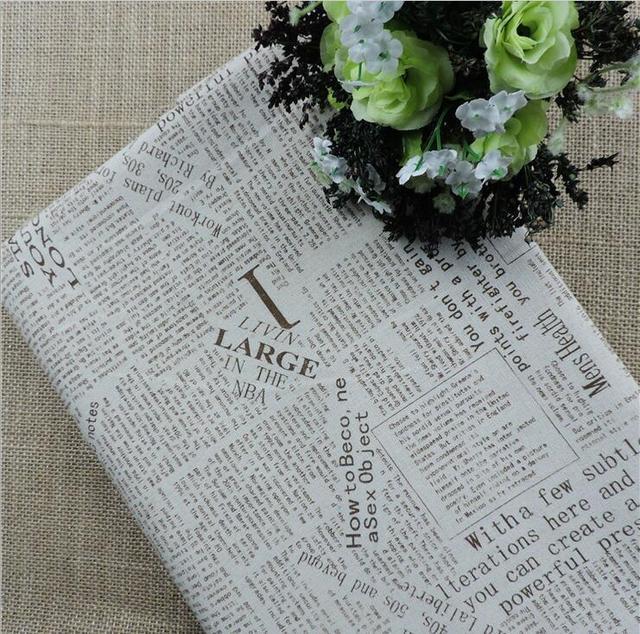 100x145 cm Vintage Zeitung Muster Natürliches Leinen Baumwolle ...
