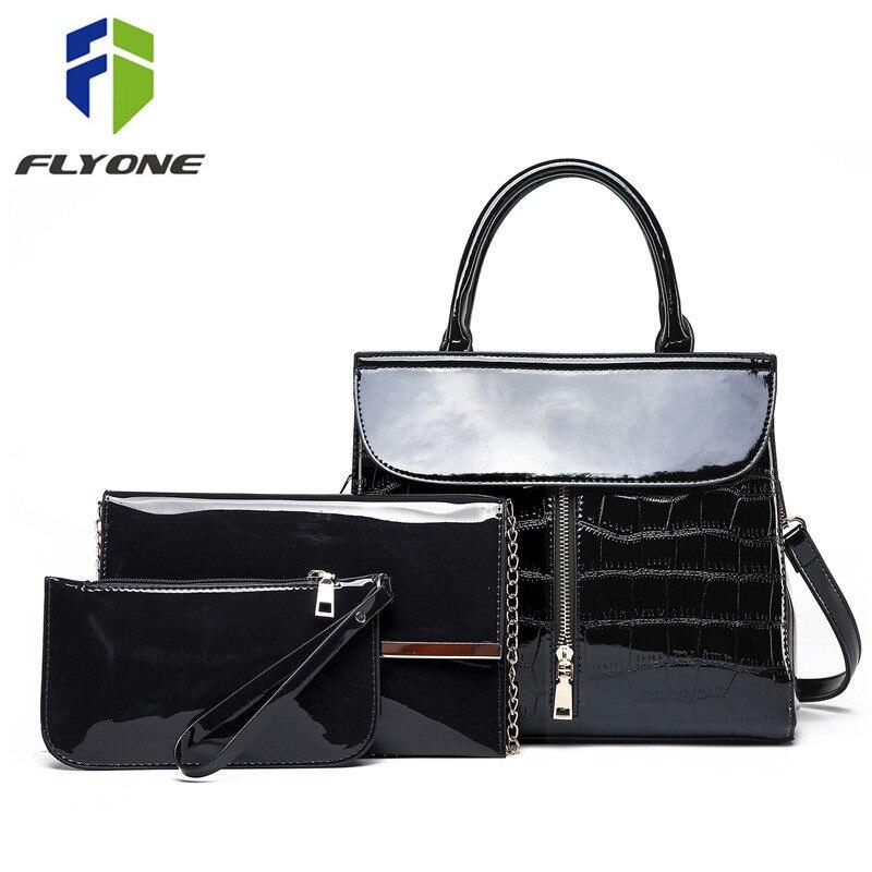 3 pièces femmes sac à main ensembles Crocodile en cuir verni Composite sac nouvelle haute qualité femme sac à bandoulière embrayage sac à main Messenger sacs
