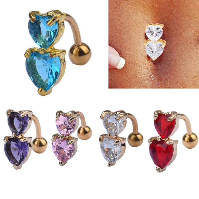 HTB1LMLtPVXXXXaaXXXXq6xXFXXXa Heart Belly Button Ring - Double Golden Crystal Belly Button Ring For Women - 5 Colors
