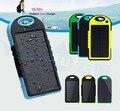 100% Genuine & Top qualidade Carregador Solar Portátil com Lanterna, à prova d' água Power bank saída Dual USB Carregador Solar com Mosquetão
