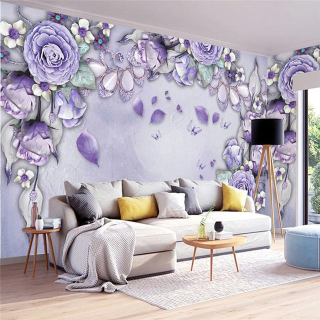 Custom Size Modern Wall WallPaper Lavender Diamond Romantic Flower ...