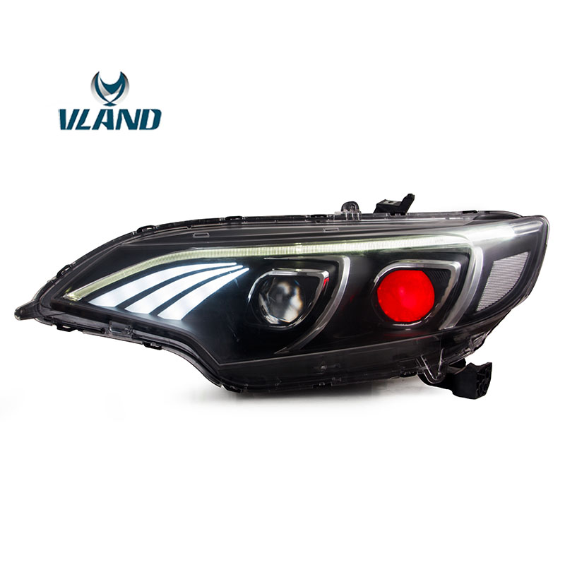 Vland Factory Car Accessories Head Lamp for <font><b>Honda</b></font> <font><b>Fit</b></font> Jazz <font><b>GK5</b></font> 2014-2017 Head Light with Daytime Running Light image