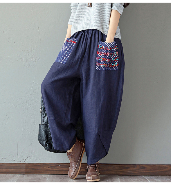 a38218ae890 Women Chinese Style Loose Painted Wide Leg Pants Ethnic Summer Style Plus  Size Cotton Linen Vintage