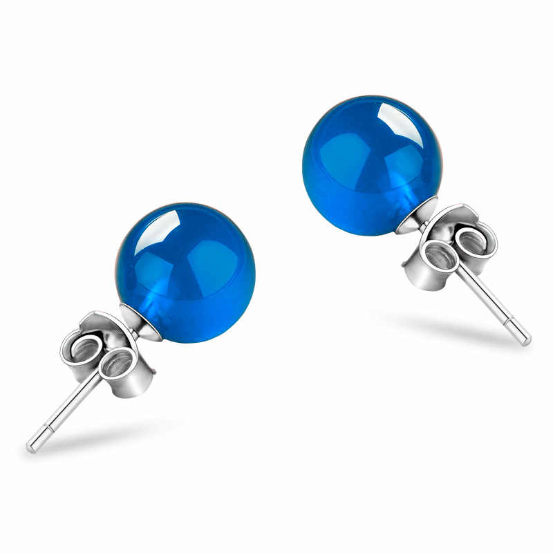 d14d0f2b5 Stud Earrings For Women 6mm Blue & White Chalcedony S925 Sterling Silver  Classic Fine Jewelry Bridal