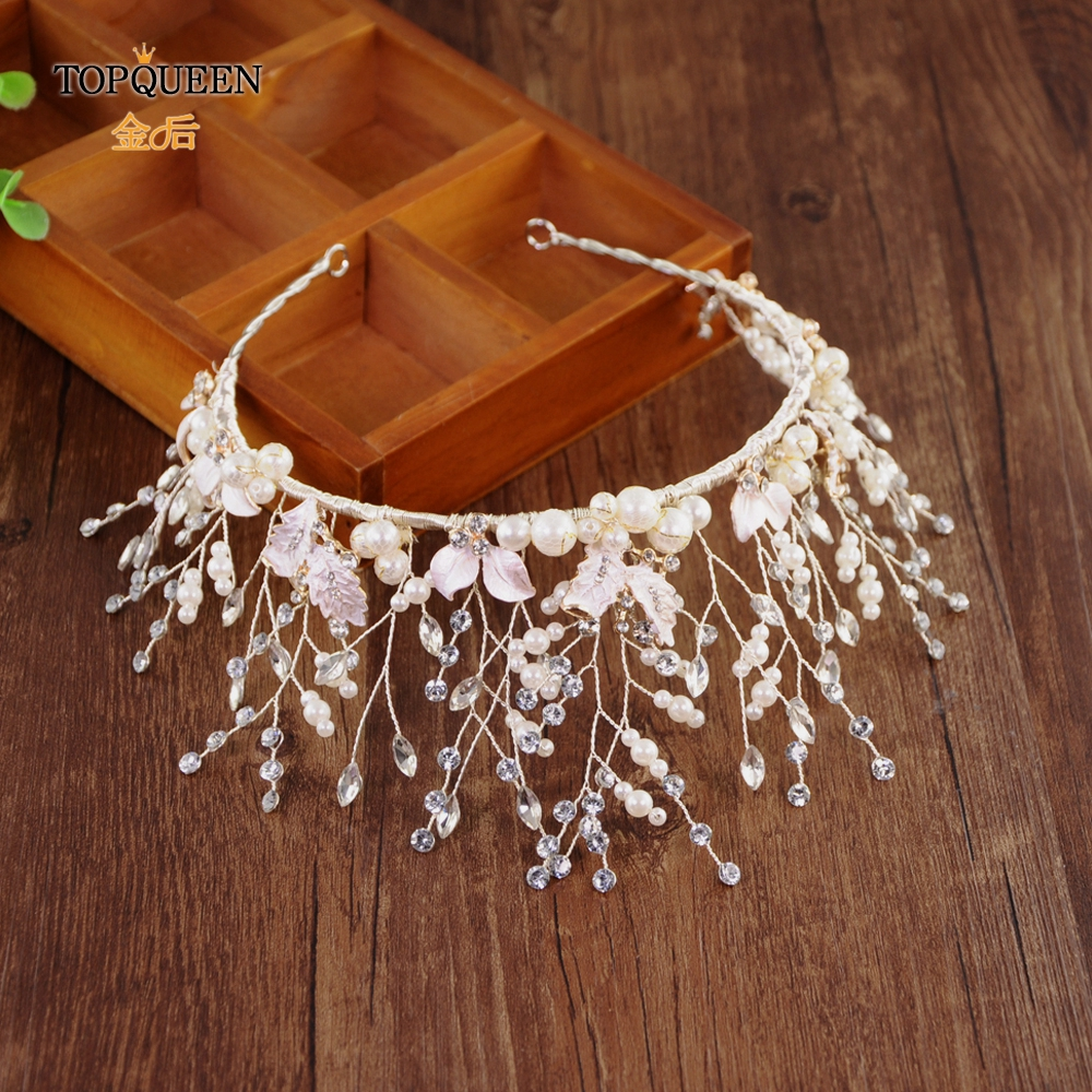 TOPQUEEN HP213-S Wedding Hair Accessories For Bride  Hair Tiara With Pearl Crystal Headband For Women Rhinestone Wedding Crown