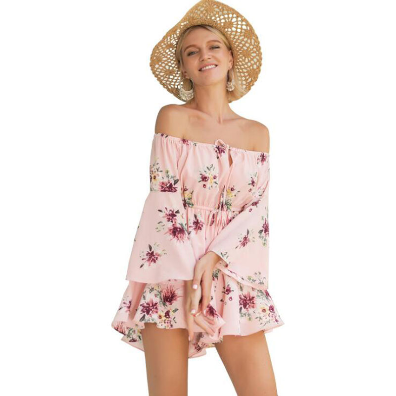 Rompers Womens Jumpsuit Floral Print Ruffles Playsuits Off Shoulder Female Casual Summer Clothing Short Women Playsuits Pink