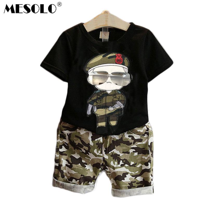 Summer Children Boy Clothes Sets Kids 2pcs Camiseta de manga corta Trajes para niños Shorts de camuflaje Trajes de ropa para niños