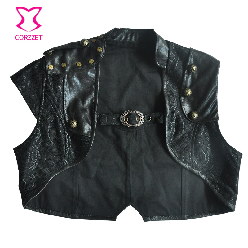 US $28.96 45% OFF|Retro Punk Black Floral Lace & PU Leather Sleeveless Gothic Jacket Women Short Bolero Outwear Women's Jackets Steampunk