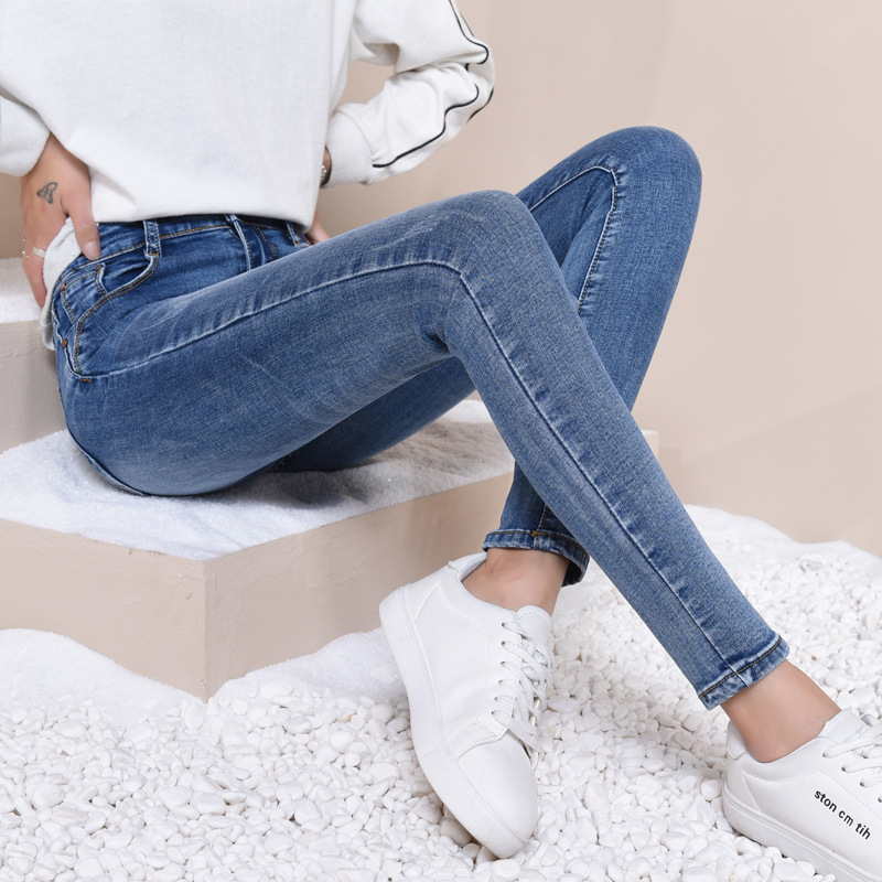 Women MUM ankle length   jeans   casual high elstic female   jeans   vintage fashion 9N28
