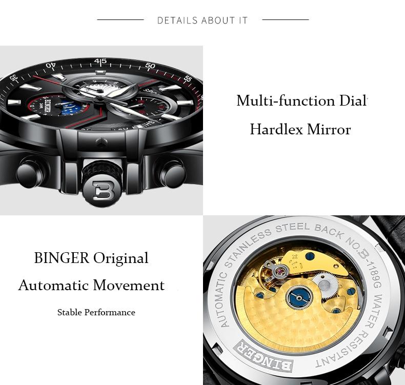 Relogio Masculino BINGER New Sport Mens Watches Top Brand Luxury Full Steel Automatic mechanical Clock Waterproof Watch Men 2019