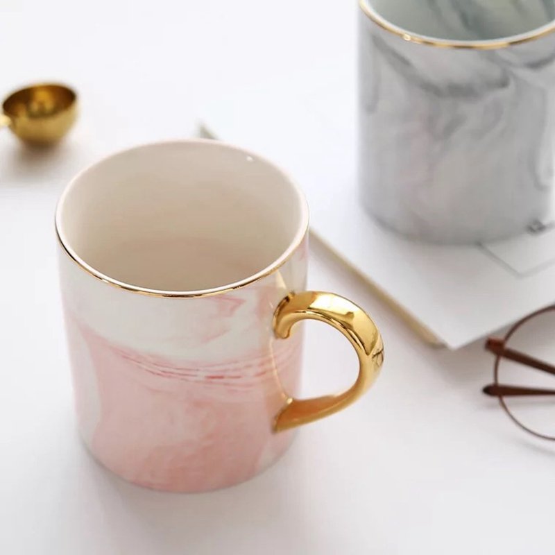Marble Patterned Ceramic Mug With Gold Handle
