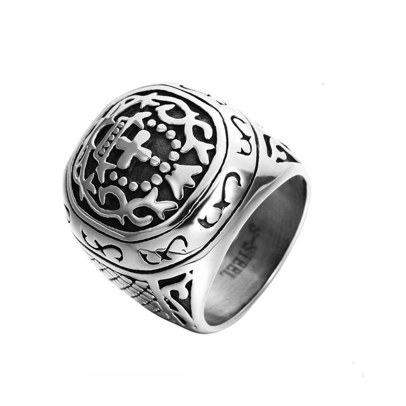 Fashion Punk Stainless Steel Cross Finger Ring Men Women Fashion Wedding Crown Jewelry in Engagement Rings from Jewelry Accessories