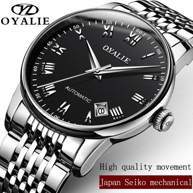 a1b3b547145 OYALIE Aço Pesado Homens Automáticos Relógios Relógio Masculino Mecânica  Auto Data Roman Dial Pulseira relógios de