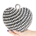 Elegant Valentine's Day Gift Chain Shoulder Day Clutches Purse Evening Bags Diamonds Heart Design Beaded Evening Bag