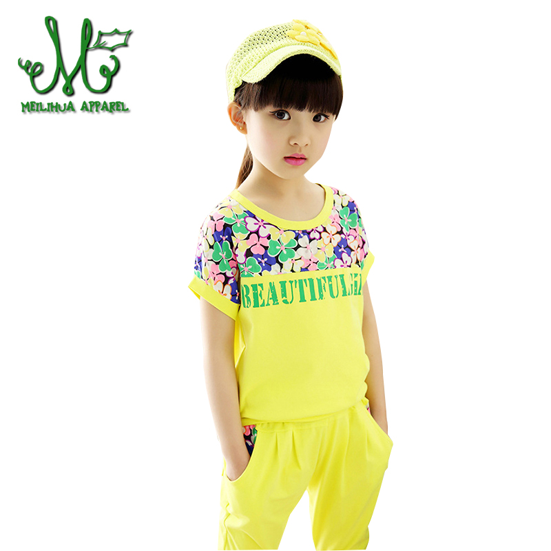 Summer Girls Letter Clothing SetsTracksuits Cotton Sportswear Outfits Beautiful Girl Sports Suits For 4 6 8 10 12 14 Years