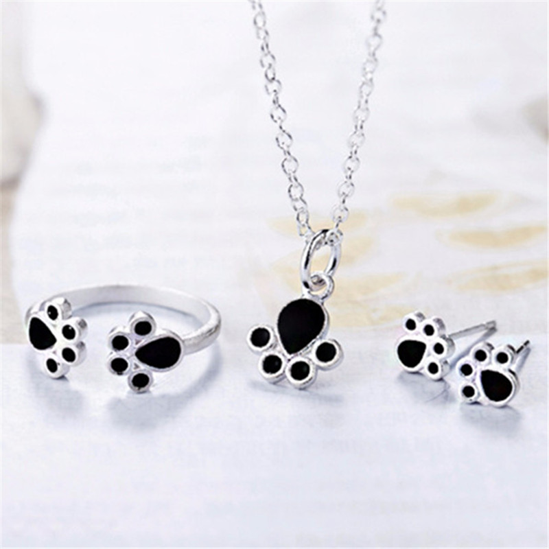 New Bear Set rings earring necklace Paw Cat Claw black Jewelry set for Women Romantic Wedding Pink Love gift