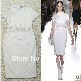 Hot 2014 spring summer dresses New Fashion Victoria Beckham style hollow  perspective Slim package hip pencil dress sexy dresses e3e675eaad6f