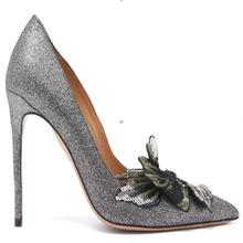 Hot Fashion Sexy Silver/red Sequined Cloth Slip-On Shoes Pointed Toe Thin Heels Women's Shoes Shallow Bling Flower Ladies Pumps все цены