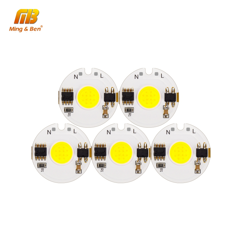 [MingBen] 5pcs LED COB Chip Light 12W 9W 7W 5W 3W 220V Smart IC Day Cold Warm White Grow Light DIY For LED Spotlight Floodlight arlight светильник lgd 678wh 9w day white 25deg