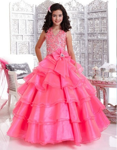 Free Shipping Custom Design Princess Dresses Gown Long Prom Dress Pink White Yellow Flower