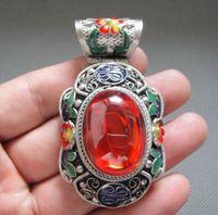 Exquisite Antike Chinesische Tibetischen Silber & Emaille Geschnitzte Blumen Intarsien mit Künstliche Rote Zirkon Anhänger