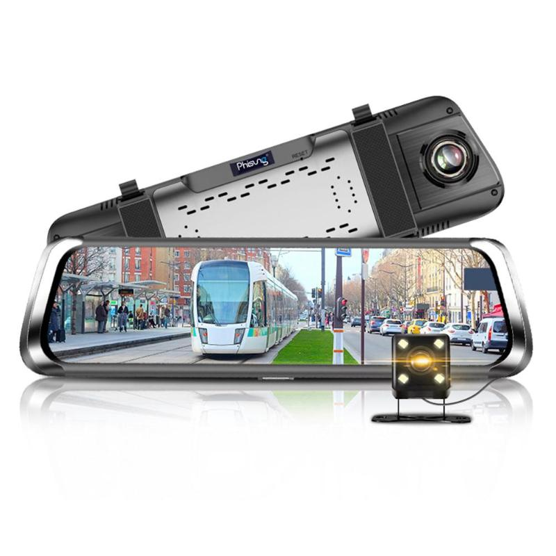 Phisung 10inch Car DVR Camera IPS Touch Screen Bluetooth WiFi 4G Android Dual Lens Car DVR Vehicle Rearview Mirror Camera New