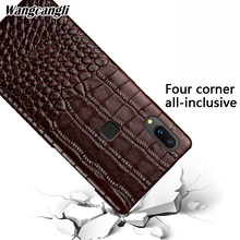 For VIVO V9 crocodile pattern half-pack mobile phone case four-corner all-inclusive mobile phone case for X6 X7 X9 X21 case crocodile pattern anti radiation signal shielding protective pu bag case for mobile phone brown
