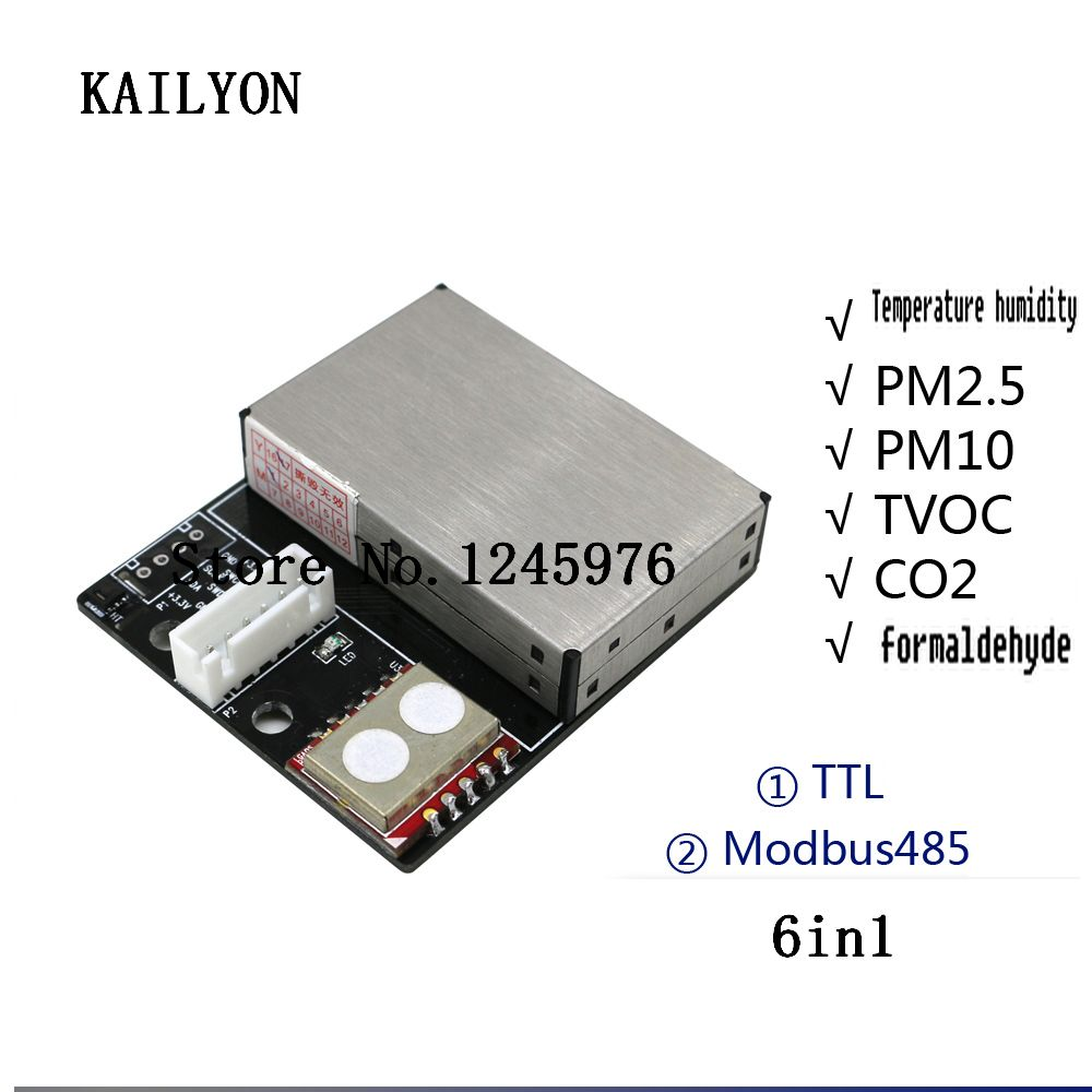 6in1 sensor Latest sensor PM2.5 Air particle dust sensor + temperature and humidity + TVOC + formaldehyde +CO2 Modbus485 output temperature and humidity sensor protective shell sht10 protective sleeve sht20 flue cured tobacco high humidity