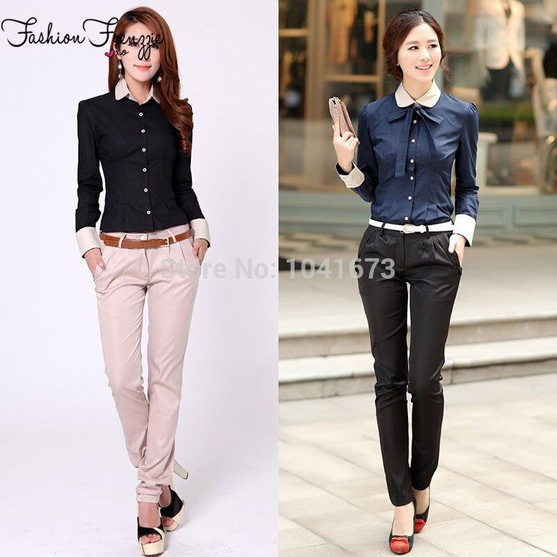 Fashion Bow Decorated Belt Design Slim Women Formal Pants Suits Size
