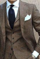 Коричневый мужской костюм Slim Fit Blazer куртка Для мужчин свадебные Смокинги для женихов Модные мужские Костюмы (куртка + брюки + жилет