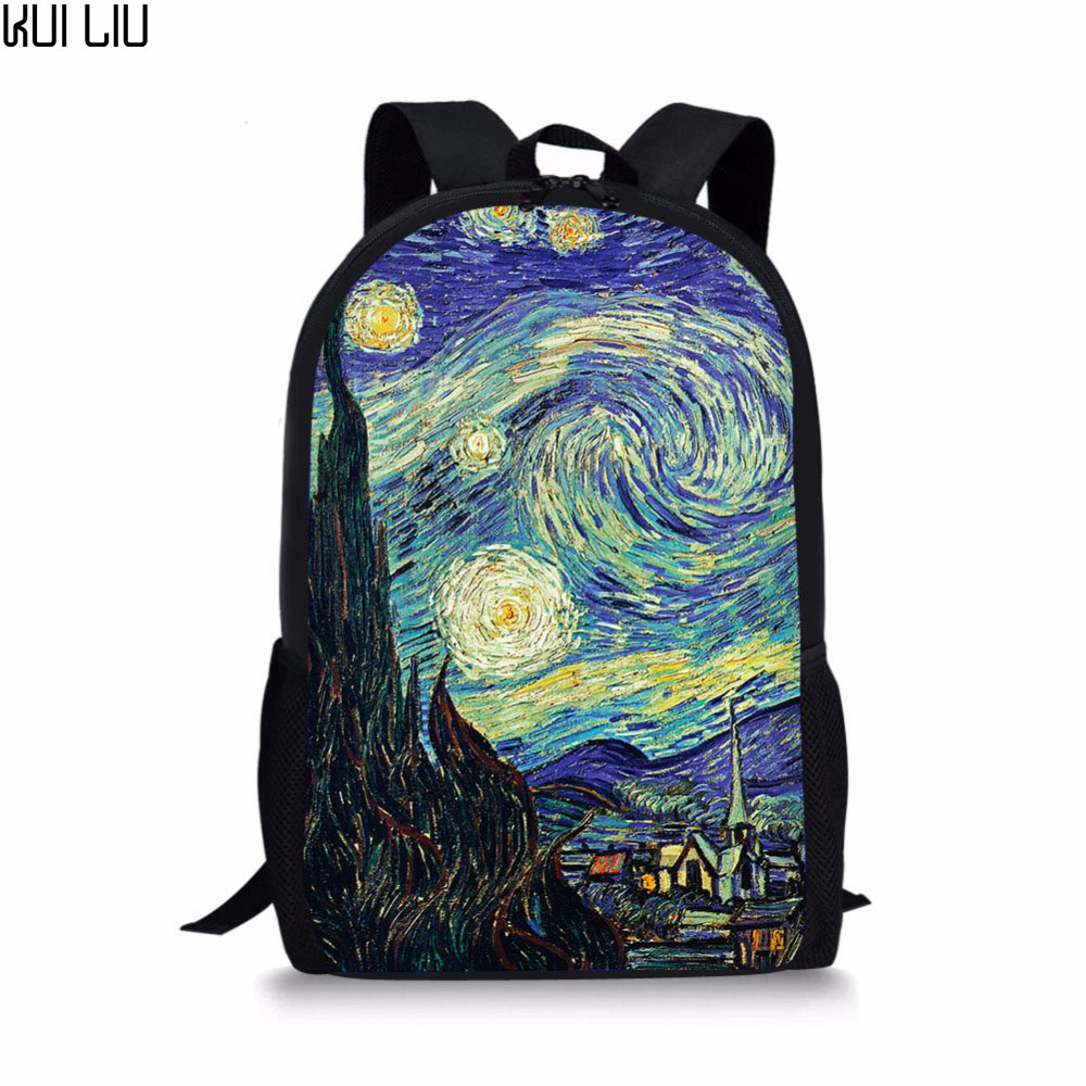 Girls Backpacks Schoolbags Van Gogh Starry Customized Primary-School-Students Children